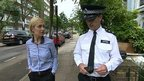 Newsround's Hayley talks to a police officer in Islington.