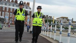 Dorset Police officers on patrol in Weymouth