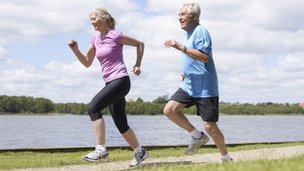 Retired people jogging