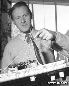 Thor Heyerdahl with a model of his balsa wood dirigible