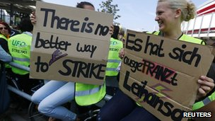 Lufthansa staff on strike