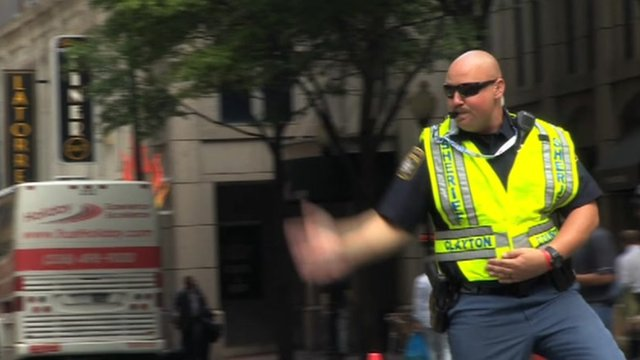 Dancing traffic policeman in Charlotte