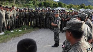 File picture of soldiers deployed in Peru