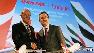 Qantas chief executive Alan Joyce and Emirates president Tim Clark