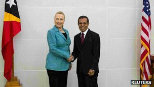 Mrs Clinton is the first top-level US diplomat to visit East Timor since its independence a decade ago