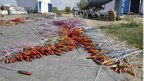 Fireworks lie on the street in Sivakasi on 5 September 2012