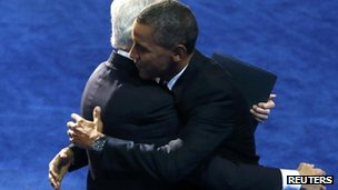 President Obama embraces former President Bill Clinton in Charlotte (6 Sept 2012)