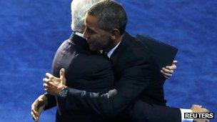President Obama embraces former President Bill Clinton in Charlotte (6 Sept 2012)