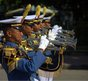 Indonesian Naval Academy band performing in a public park in Bangkok, Thailand