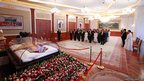 VIPs view the body of Sun Myung Moon, during a restricted viewing at the church&#039;s complex in Gapyeong, 60km (35 miles) east of Seoul.