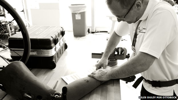 Prosthetist working on a prosthetic limb