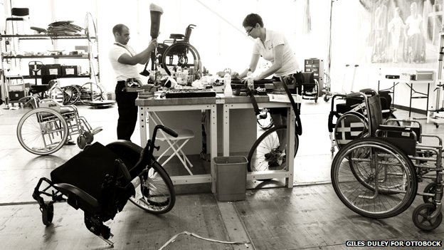 Two prosthetists in a workshop