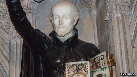 A statue of St Ignatius at Farm Street Church in London