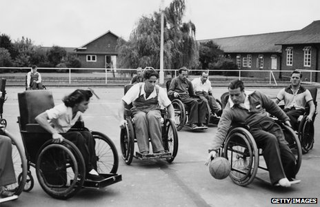 Wheelchair netball at Stoke Mandeville hospital in 1953
