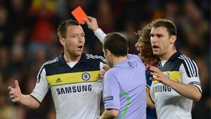 John Terry getting red carded in the Champions League semi-final.