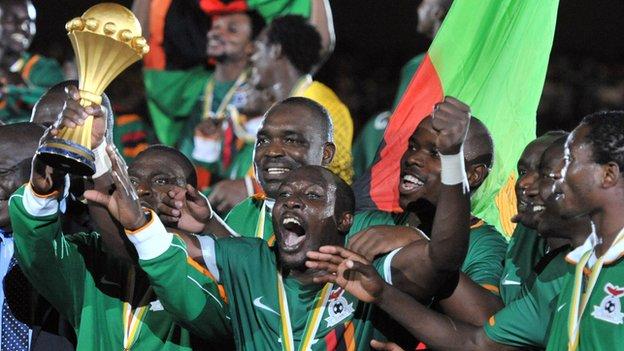 Zambia celebrate winning the 2012 Nations Cup