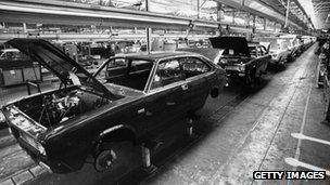 1975: The car assembly line at the British Leyland Plant at Cowley.