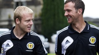Naismith enjoys a joke with Scotland colleague Andy Webster