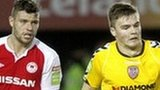 St Pat's player James Chambers and Conor Murphy of Derry City