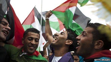 Men celebrating in Ramallah