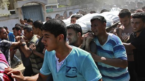Palestinian mourners carry the bodies of Ihab and Akram al-Zaanin, two Palestinian brothers who were killed by Israeli fire