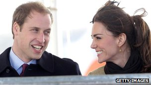 Prince William and Kate Middleton, on her first official royal engagement, on Anglesey in February 2011