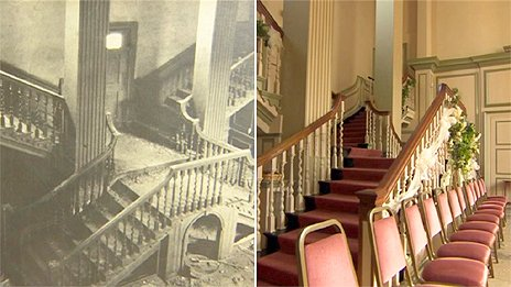The Great Hall in the Middleton Hall building before and after the restoration