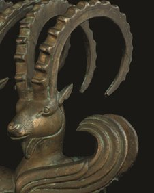 Ibex horns on show at the Nomads and Networks exhibition at the Smithsonian&#039;s Freer and Sackler Asian Art galleries