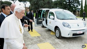 The Pope is presented with the new electric car. 5 Sept 2012