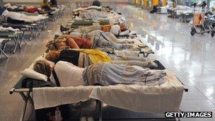 stranded Lufthansa passengers