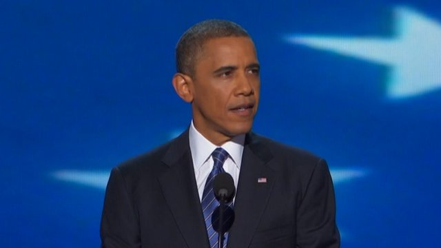 Barack Obama speaks to the Democratic National Convention 6 September 2012