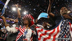 People cheer after President Barack Obama accepted the nomination for president during the final day of the Democratic National Convention at Time Warner Cable Arena on September 6, 2012 in Charlotte, North Carolina