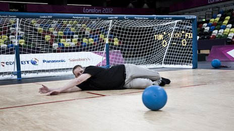 Damon Rose tries his hand at goalball