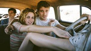 Sam Riley, Kristen Stewart and Garrett Hedlund in On the Road