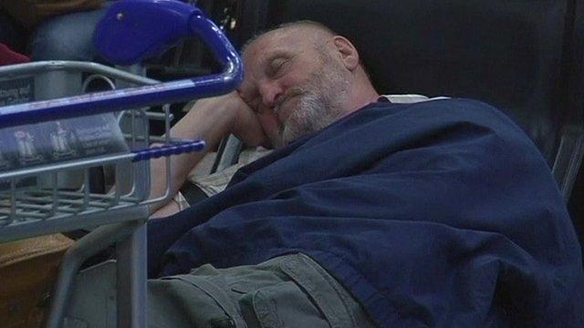 Sleeping Lufthansa passenger