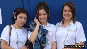 Amy, Chloe and Denni from The North School listen to Radio 5live from the Olympic Park