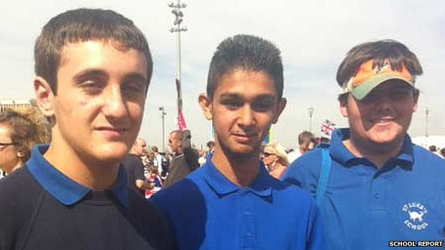 Bilal, Jo and James from St Luke's School, at the Olympic Park