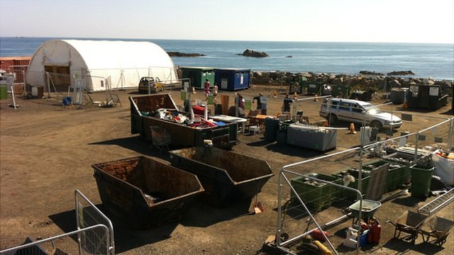 Sheltered area erected at Longue Hougue in Guernsey