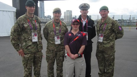 Sam Haslam and military personnel