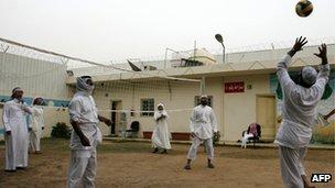 Saudi former al-Qaeda Islamists play volleyball at a rehabilitation center for militants in Riyadh on April 15, 2009