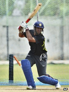 India&#039;s cricketer Yuvraj Singh bats in the nets during a training session ahead of their first Twenty20 cricket match against New Zealand in Visakhapatman, India, Friday, Sept. 7, 2012