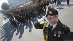 Soldiers of Moldova's self-proclaimed separatist Dnestr region take part in a military parade