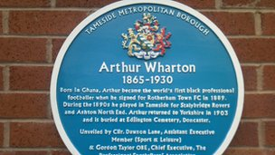The blue plaque for Arthur Wharton