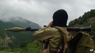 Armed Taliban militant in Waziristan, Pakistan. Aug 2012