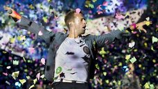 Chris Martin of Coldplay performs in the Hague
