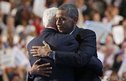 US President Barack Obama embraces former President Bill Clinton onstage after Clinton nominated Obama for re-election during the second session of the Democratic National Convention in Charlotte, North Carolina.