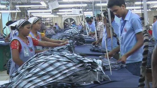 Bangladeshi workers making clothes