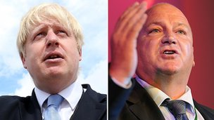 Boris Johnson (l) and Bob Crow