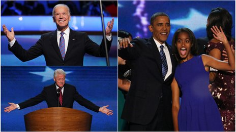 Joe Biden, Barack and Malia Obama, and Bill Clinton
