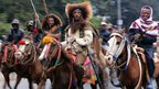 Ethiopian horsemen in Oromo costumes in Addis Ababa, Friday 31 August 2012